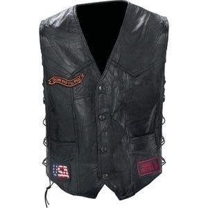 Rock Design Genuine Buffalo Leather Biker Vest